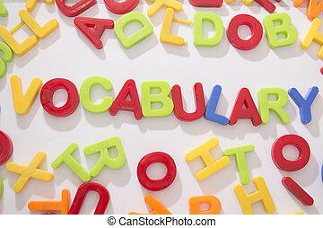 vocabulary - plastic letters