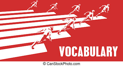 Vocabulary with Business People Running in a Path