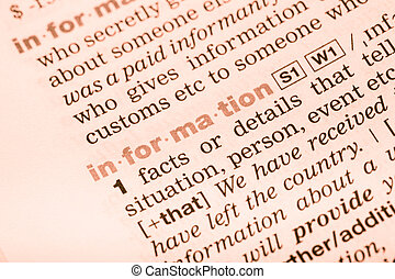 Vocabulary word information - Close-up of English dictionary...