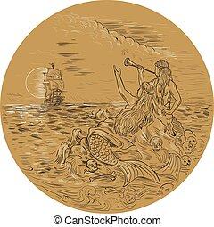 vocación, círculo, dibujo, barco, ondulación, sirena, isla, ...