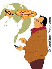 vocación, para, entrega pizza