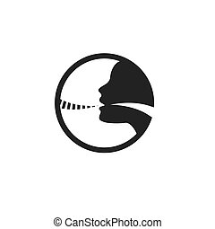 Vocal cord icon with person image vector illustration -...