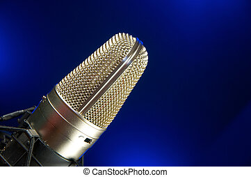 Vocal Mic on Stand Music Recording & performance concept.