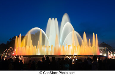 vocal Montjuic fountain in Barcelona. Spain - Evening view...