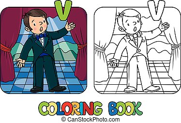 vocalist., o, colorido, cantante, divertido, libro