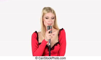 Vocalist sings energetic songs. White background - Vocalist...