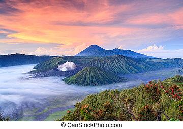 vocalno, jawa, indonezja, wschód słońca, bromo, wschód
