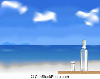 vodca, vetorial, praia