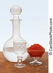 vodka and caviar - misted decanter with russian vodka and...