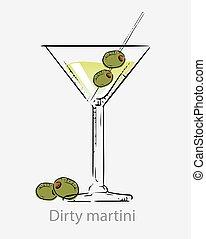 vodka/, apéritif, basé, crosse, vert, cocktail, olives, martini, sale, alcoolique, cocktail.