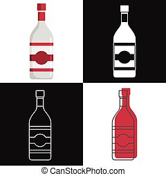 vodka, bottiglie, isolato, vettore, fondo, bianco