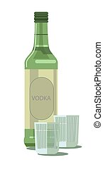 Vodka bottle and glasses vector isolated alcohol drink bar...