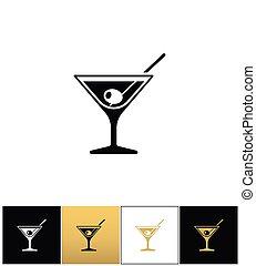 vodka, cocktail, signe, verre, vecteur, olive, martini, ...