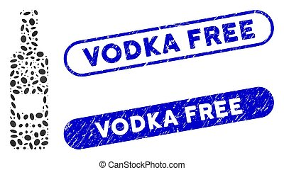 vodka, collage, ellipse, bouteille, gratuite, froid, cachets, détresse