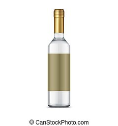 vodka, etichetta, bottiglia vuota, isolato