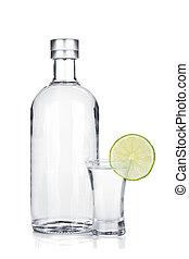 vodka, fetta, vetro colpo, bottiglia, calce