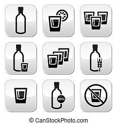 vodka, fuerte, alcohol, botones, conjunto