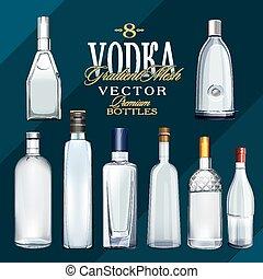 vodka, illustration, bottles., vecteur, divers, types