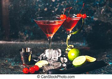 vodka, kozmopolita, koktél, gin, alkoholista, szüret, ital, hatás, hosszú, pohár., jutalom