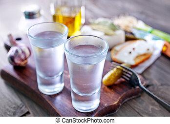 vodka, lard and cucumbers