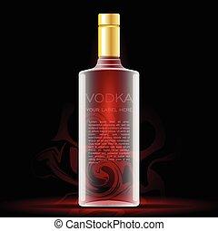 vodka, mockup, aquí, etiqueta, vector, botella, su