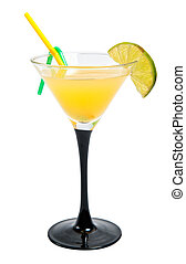 vodka orange cocktail in a small glass isolated on white