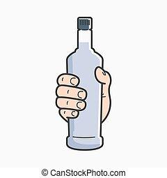 vodka, prise, possession main, bottle., mâle