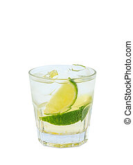 Vodka tonic cocktail with ice and lemon slices isolated with clipping path