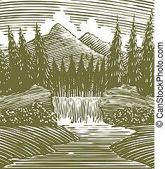 vodopád, dřevoryt, divokost