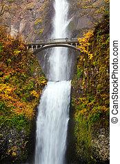 vodopád, -, multnomah podzim, do, oregon