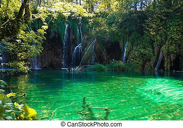 vodopády, v, plitvice, jezero