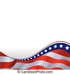 vodorovný, prapor, americký, grafické pozadí