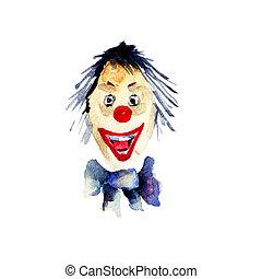 vodová barva, ilustrace, o, klaun
