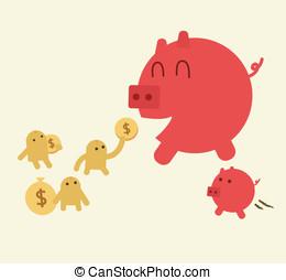 voederen, varken, met, muntstukken., piggy bank , hebben,...