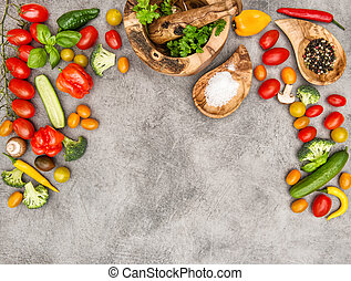 voeding, achtergrond., voedingsmiddelen, groentes, gezonde , herbs., fris