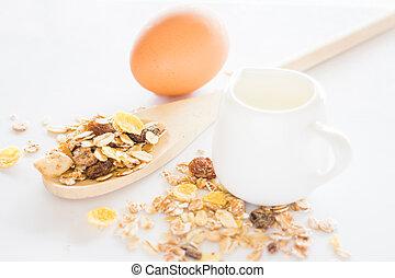 voeding, bestanddeel, van, muesli, melk, en, ei