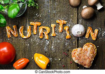 voeding, brieven, houten, groentes, rustiek, deeg, woord, tafel