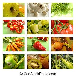 voeding, collage, van, gezond voedsel