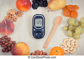 voeding, concept, niveau, gezonde , meter, suiker, resultaat, opmeting, vruchten, glucose, diabetes