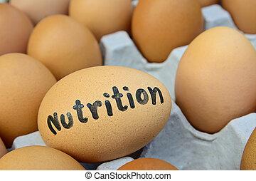 voeding, concept, woord, voedingsmiddelen, eitjes, krat, ei