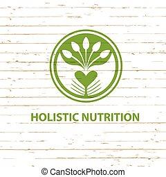 voeding, holistic, hout, dieet, vector, achtergrond, logo, detoxicatie