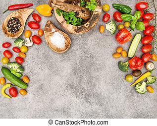 voeding, keukenkruiden, voedingsmiddelen, groentes, gezonde , achtergrond, fris