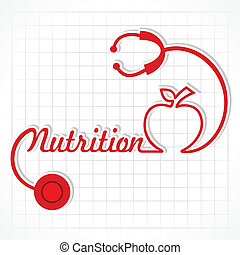 voeding, maken, stethoscope, woord