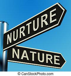 voeding, of, natuur, richtingen, op, een, wegwijzer