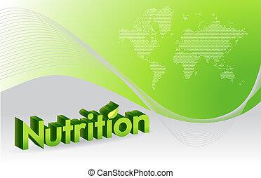 voeding, ontwerp, illustratie, meldingsbord