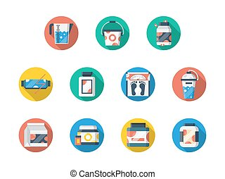 voeding, set, iconen, vector, fitness, sportende, ronde