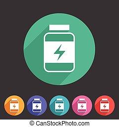 voeding, sportende, plat, voedingsmiddelen, symbool, etiket, web, logo, meldingsbord, pictogram