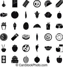 voedings, waarde, iconen, set, eenvoudig, stijl