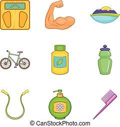 voedingsaanvulling, iconen, set, spotprent, stijl