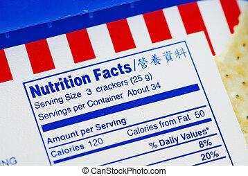 voedingsmiddel, feiten, doosje, koekjes